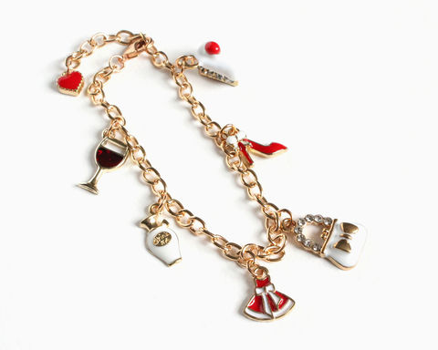 Red,White,Ladies',Treasure,Gold,Charm,Bracelet,gold charm bracelet, gold bracelet, red white gold charm bracelet, ladies theme charm bracelet, girls charm bracelet, dress shoe, wine cake, perfume charm bracelet