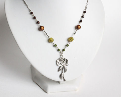 Beaded Silver Rose Necklace (Last One) - product images  of