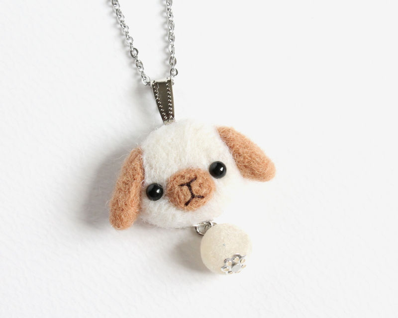 Needle Felted White Lop Bunny with Brown Ears necklace or brooch or ring or shawl pin - product images  of