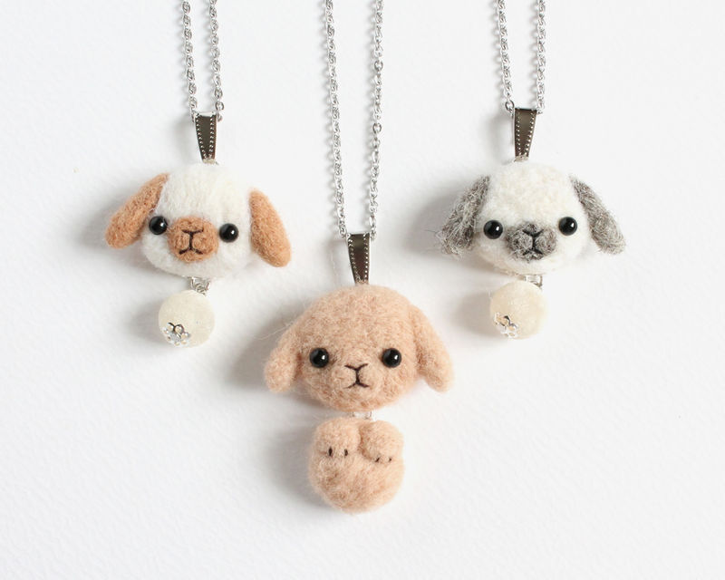 Needle Felted Wool Tan Lop Bunny necklace or brooch or shawl pin - product images  of