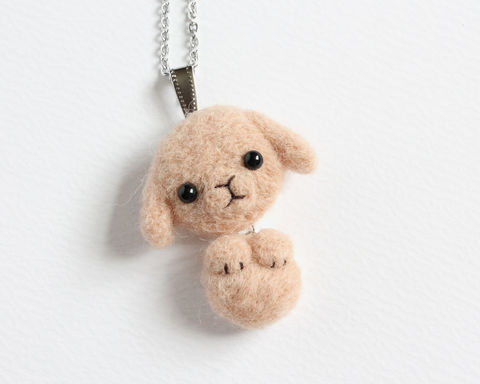 Needle,Felted,Wool,Tan,Lop,Bunny,necklace,or,brooch,shawl,pin,brown lop bunny necklace, tan lop bunny necklace, tabby lop bunny, lop rabbit, tan rabbit necklace, brown rabbit necklace, tabby bunny brooch, rabbit brooch, lop bunny brooch