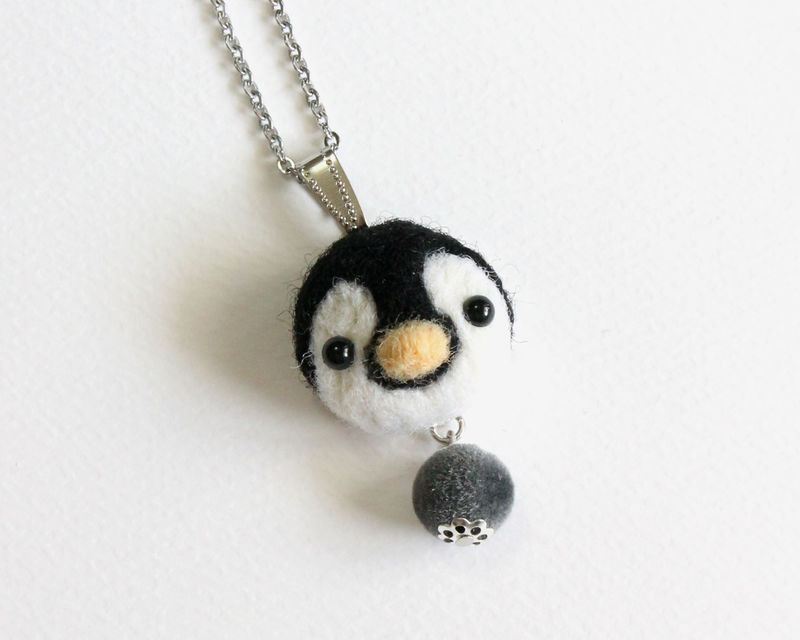 Needle Felted Baby Penguin necklace or brooch or ring or shawl pin - product images  of