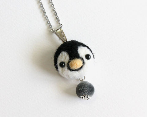 Needle,Felted,Baby,Penguin,necklace,or,brooch,ring,shawl,pin,baby penguin necklace, baby penguin brooch, needle felted baby penguin, needle felted penguin, felted wool baby penguin, baby penguin ring, black white gray penguin, handmade felted penguin jewelry, handmade penguin accessories