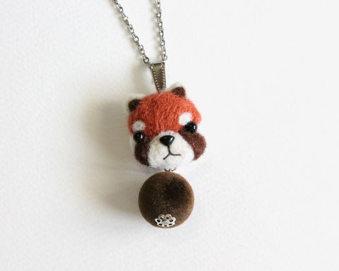 Needle,Felted,Red,Panda,necklace,or,brooch,ring,shawl,pin,red panda necklace, needle felted red panda, wool felted red panda, raccoon necklace, needle felted raccoon, wool felted raccoon, cute red panda necklace, cute red raccoon