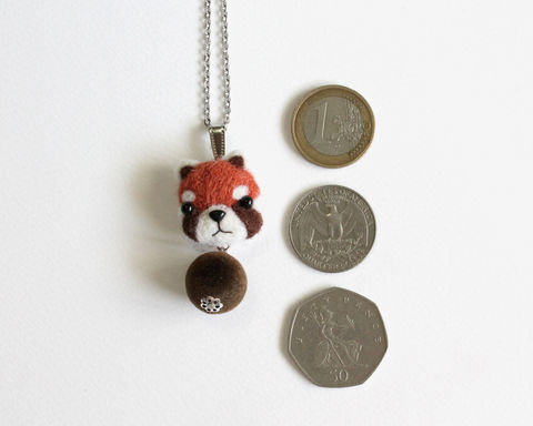 Needle Felted Red Panda necklace or brooch or ring or shawl pin - product images  of