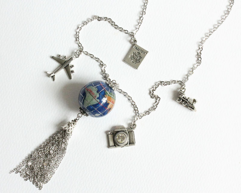Travel Around The World Globe Tassel Long Necklace - product images  of