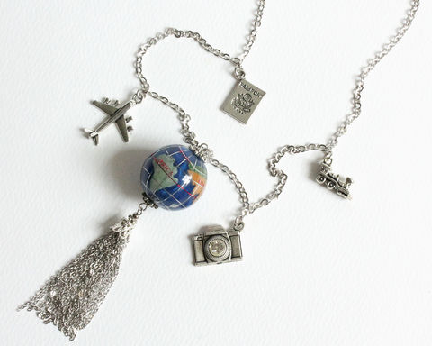 Travel,Around,The,World,Globe,Tassel,Long,Necklace,globe necklace, globe tassel necklace, world necklace, world map necklace, blue globe necklace, travel necklace, world travel necklace, long necklace, vacation long necklace