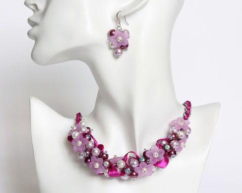 Red-Violet and Mauve Flower Cluster Necklace and Earrings Set - product images  of