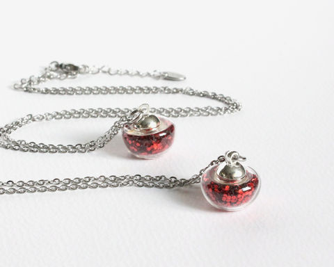 Apple,Shape,Vial,Necklace,mini vial necklace, apple shape vial necklace, small apple necklace, mini apple necklace, red glitter apple necklace, red apple necklace, small red apple necklace, mini red apple necklace