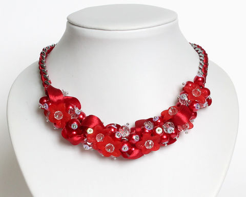 Red Flower Bridesmaid Cluster Necklace and Earrings Set - product images  of