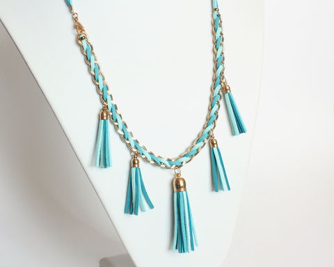 Bright,Blue,Faux,Suede,Tassels,Necklace,blue suede tassel necklace, blue leather tassel necklace, blue gold long necklace, tassel long necklace, 5 leather tassel necklace