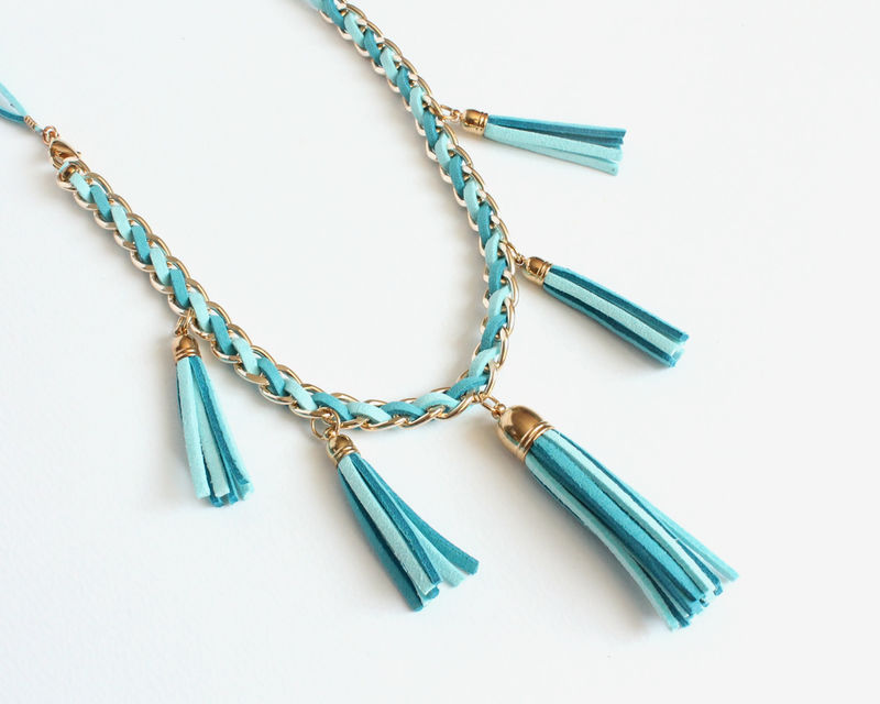 Bright Blue Faux Suede Tassels Necklace - product images  of