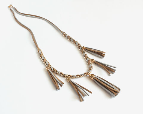 Khaki Gray Faux Suede Tassels Necklace - product images  of