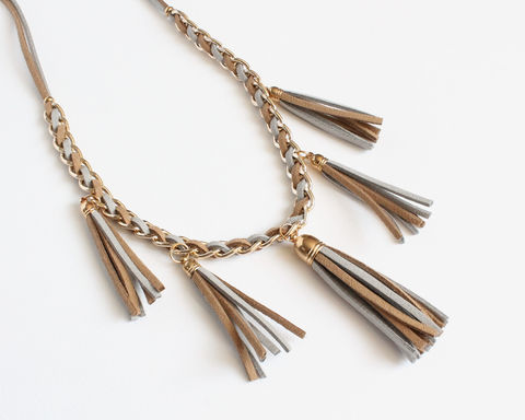 Khaki,Gray,Faux,Suede,Tassels,Necklace,brown gray suede tassel necklace, khaki gray long necklace, brown leather tassel necklace, brown gold long necklace, tassel long necklace, 5 leather tassel necklace