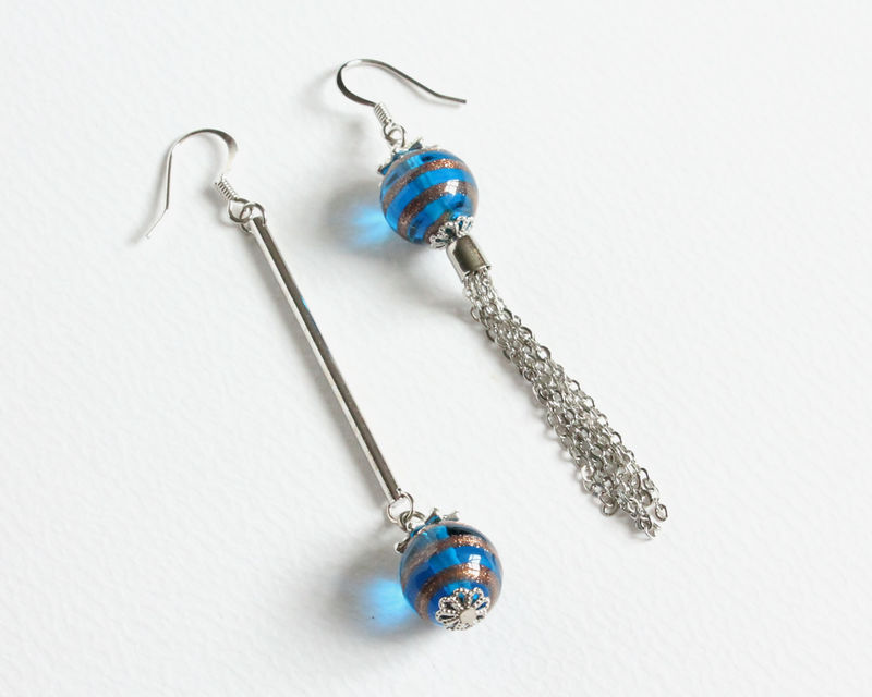 Dangle Lampwork Ball Uneven Earrings - product images  of