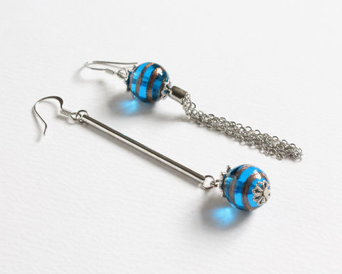 Blue,Lampwork,Glass,Ball,Asymmetric,Earrings,long dangle earrings, lampwork beads earrings, uneven earrings, different earrings, dangle and tassel earrings, glass ball earrings, long and short earrings, blue gold earrings, transparent blue lampwork earings, swirl gold earrings