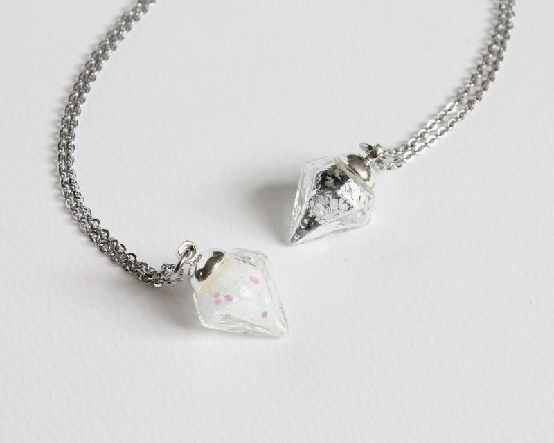 Mini Diamond Shape Vial Necklace - product images  of