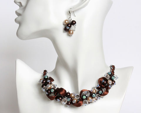 Chocolate,Brown,Cluster,Necklace,and,Earrings,Set,chocolate brown necklace, brown pearl necklace, brown cluster necklace, pearl cluster necklace, chocolate necklace, chocolate bridesmaid necklace and earrings set, bridesmaid jewelry set