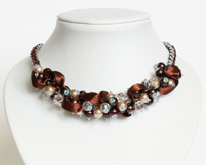 Chocolate Brown Cluster Necklace and Earrings Set - product images  of