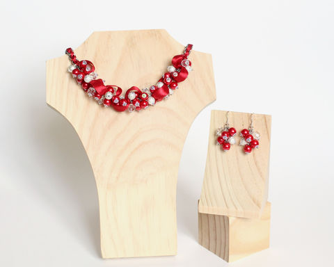 Red Pearl Cluster Necklace and Earrings Set [Made to Order] - product images  of