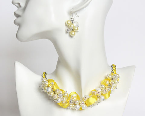 Yellow,Pearl,Cluster,Necklace,and,Earrings,Set,[Made,to,Order],yellow pearl cluster necklace, yellow crystal pearl necklace, bright yellow necklace, yellow white pearl beads necklace, yellow silver beaded necklace