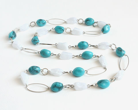 Turquoise,and,Cloudy,White,Beads,with,Shiny,Hoops,Long,Necklace,teal long necklace, teal bead long necklace, teal white necklace, silver circle necklace, cloudy white bead necklace