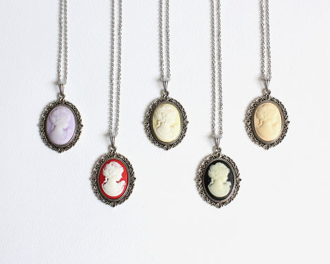 Small,Cameo,Necklace,cameo necklace, small cameo necklace, nude cameo necklace, black cameo necklace, purple cameo necklace, violet cameo necklace, purple bridesmaid necklace, nude bridesmaid necklace, nude color cameo necklace
