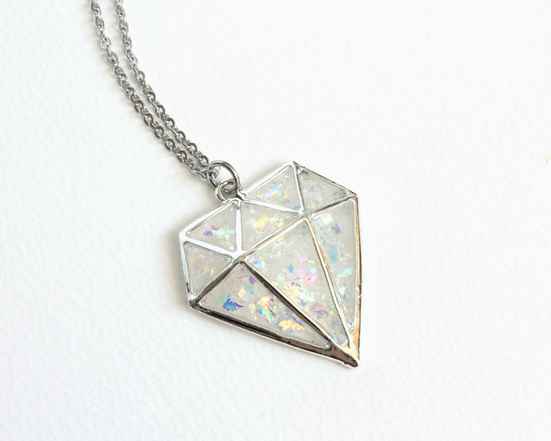 Glitter Diamond Shape Necklace - product images  of