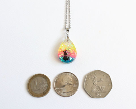 Alice and Rabbit Double-sided Glitter Necklace - product images  of