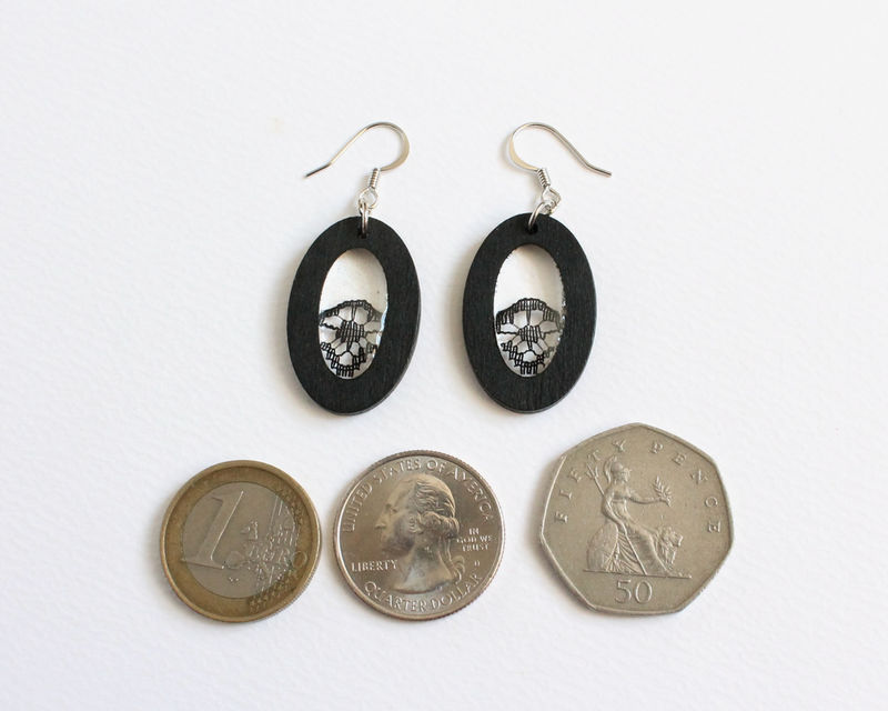 Black Wooden Oval and Black Lace Earrings - product images  of