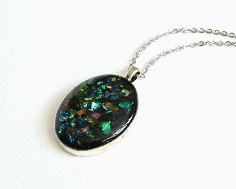 Dichroic Glitter Oval Pendant Necklace - product images  of