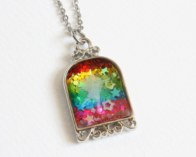Rainbow Glitter Fairy Double-sided Necklace - product images  of