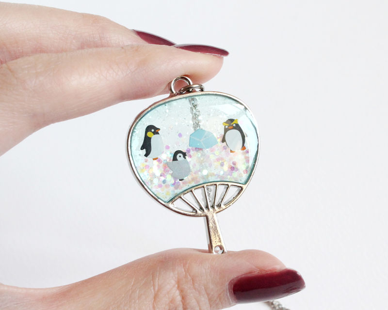 Penguin on Ice Glitter Necklace - product images  of