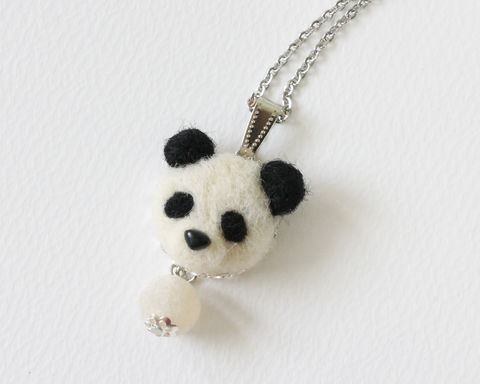 Needle,Felted,Panda,Necklace,or,Ring,Brooch,Shawl,Pin,panda necklace, needle felted panda, panda ring, wool felted panda, wool panda, panda brooch, panda shawl pin