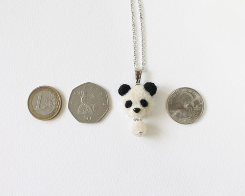 Needle Felted Panda Necklace or Ring or Brooch or Shawl Pin - product images  of