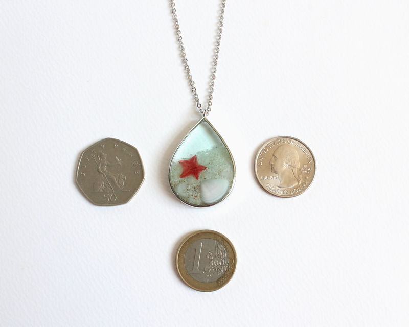 Teardrop Pendant Beach with Seashell and Red Starfish Necklace - product images  of