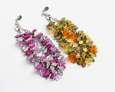 Mini,Flowers,and,Leaves,Bracelet,(2,colors,available),mini flowers and leaves bracelet, purple silver bracelet, yellow orange green bracelet, purple flower bracelet, silver leaves bracelet, yellow orange flower bracelet, small flowers leaves bracelet