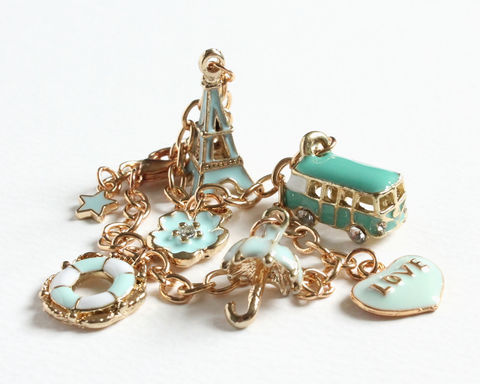 Turquoise,Light,Blue,Vacation,Gold,Charm,Bracelet,gold charm bracelet, gold bracelet, turquoise charm bracelet, turquoise light blue gold bracelet, eiffle tower charm bracelet, turquoise van charm bracelet, love charm bracelet, vacation charm bracelet, travel charm bracelet, umbrella bracelet, blue turqu