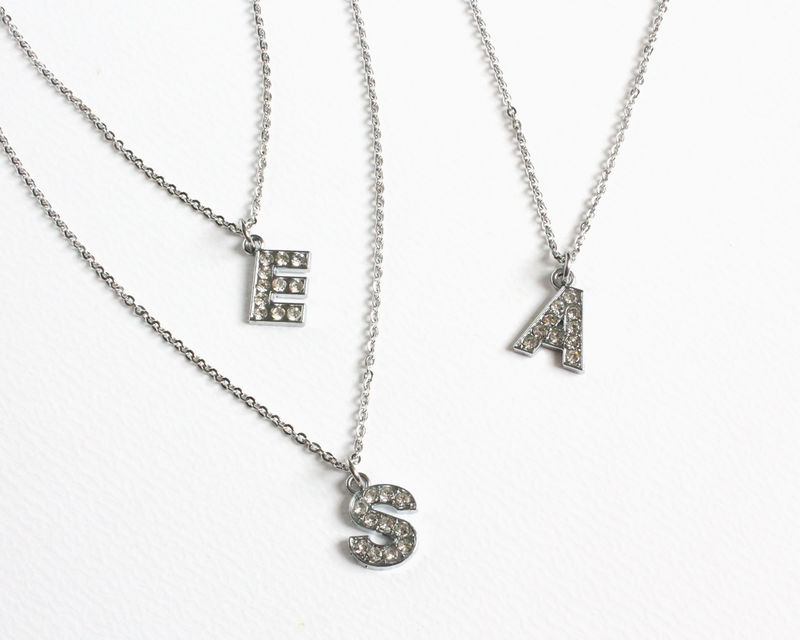 Rhinestones Initial Necklace (single or double initials) - product images  of