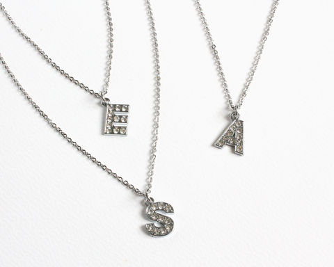 Rhinestones,Initial,Necklace,(single,or,double,initials),silver initial necklace, rhinestone initial necklace, initial pendant, bridesmaid initial necklace, alphabet necklace, alphabet pendant necklace, double initial necklace