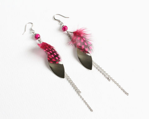 Pink,Feather,Long,Dangle,Earrings,long dangle earrings, pink feather earrings, long feather earrings, feather silver earrings, long chain dangle earrings