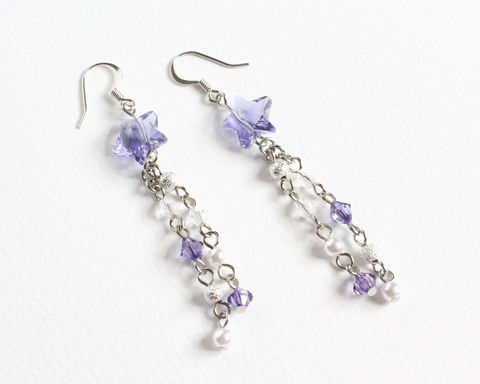 Purple,Swarovski,Shooting,Star,Earrings,purple shooting star earrings, purple star earrings, long shooting star earrings, Swarovski crystal earrings, Swarovski star earrings, purple Swarovski earrings, shooting star with tail earrings, clip on earrings, purple clip ons, long dangle earrings