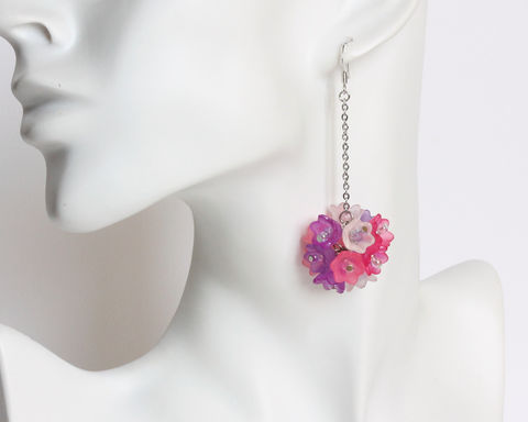 Pink,Purple,White,Bouquet,Dangling,Earrings,bouquet earrings, flower earrings, round bouquet earrings, pink purple bouquet earrings, pink purple white flower earrings, long dangling earrings, round flower ball earrings