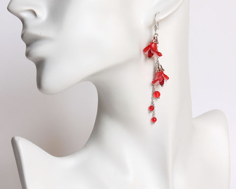 Double,Red,Trumpet,Flower,Dangle,Earrings,red flower earrings, double flower earrings, trumpet flower earrings, dangling flower earrings, clip on earrings