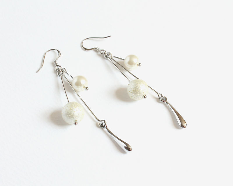 White Pearly Dangling Earrings - product images  of