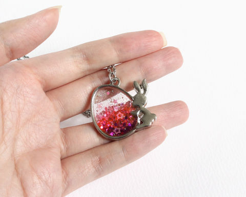 Easter Egg and Bunny Glitter Necklace - product images  of