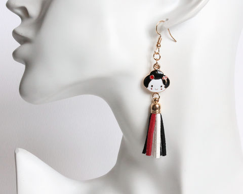 Japan Geisha and Hand Fan Earrings - product images  of