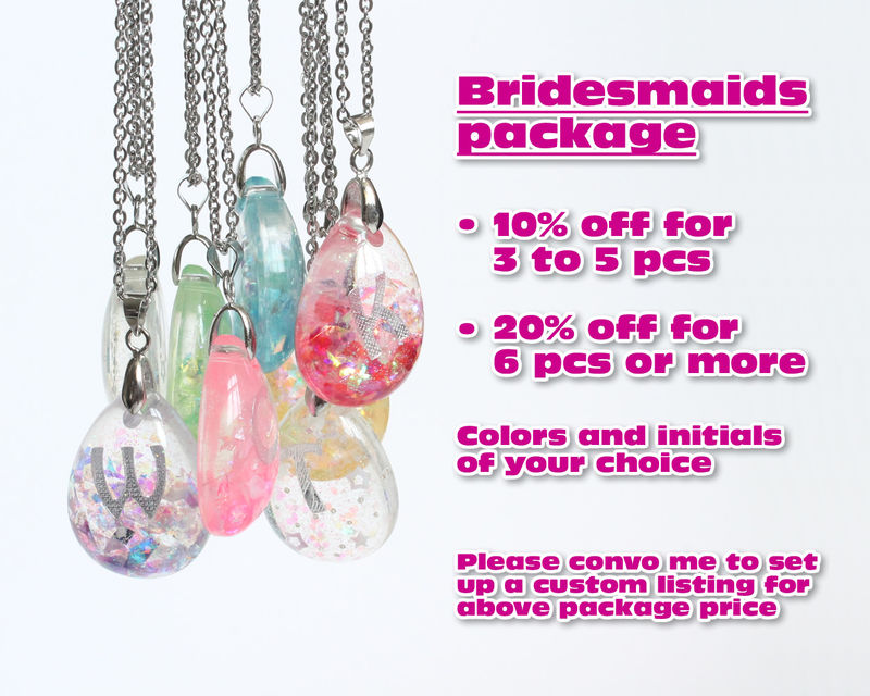 Bridesmaids Initial Teardrop Pendant Necklace - product images  of