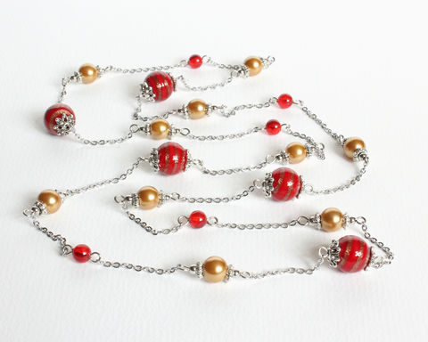 Red,and,Golden,Beaded,Long,necklace,red yellow beaded long necklace, red bronze long necklace, lampwork bead long necklace, red gold lampwork glass bead necklace, red yellow necklace