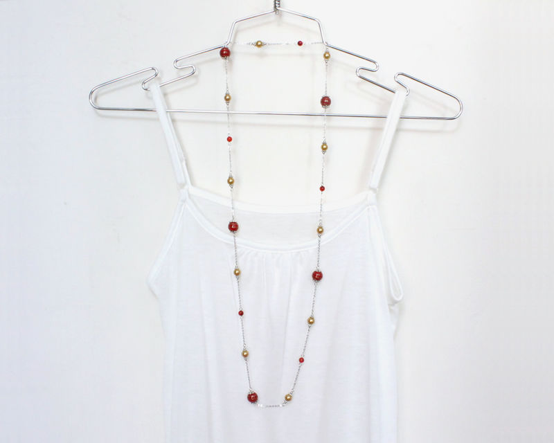 Red and Golden Beaded Long necklace - product images  of